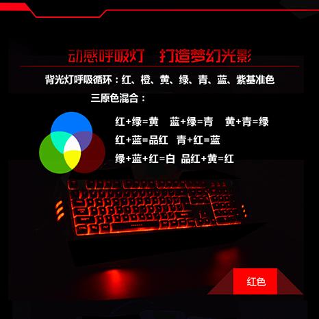 19KEY 分区发光薄膜游戏键盘